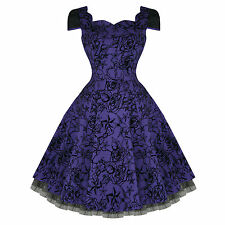 Hearts and Roses London Purple Tattoo Flare 50s Vintage Party Prom Swing Dress