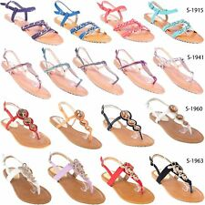 New * Women Gladiator Sandals Thong Flip Flops, T-Strap Flat Strappy Toe Shoes