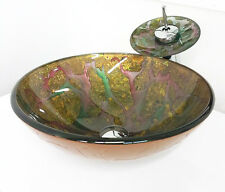 """Plus 16"""" Yellow Green Artistic Bathroom Tempered Glass Vessel Sink Faucet Combo"""