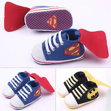 Newborn Infants Superman Batman Baby Boys Trainers Toddler Crib Shoes Soft Sole