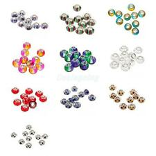 10Pcs Mixed Colorful Crystal Lampwork Glass Charms Beads Fit Snake BraceleT