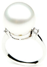 $7,999 Pacific Pearls® AAA 14mm Australian south sea White pearl Diamond Ring