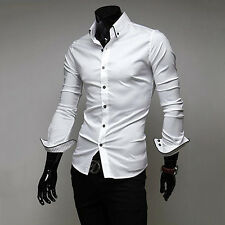 New Arrival Men's Long Sleeve Turn Down Collar Casual Slim Fit Shirt Hot Trendy