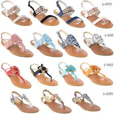 Women Gladiator Sandals Slippers Flip-Flops, Thong Flat Strappy Toe Shoes (3)