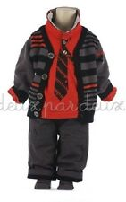NWT Deux par Deux Neige Boys Three Piece Set with Cardigan Pants Red Shirt 5 6 7