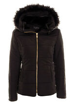 Women's Quilted Puffer Faux Fur Trim Hooded Jacket Ladies Warm Parka Coat Jacket