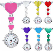 Women Lady Cute Love Heart Quartz Clip-on Fob Brooch Nurse Pocket Watch Trendy