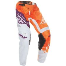 2017 Fly Racing Kinetic Crux YOUTH MX Motocross Pants - Orange / White / Pur