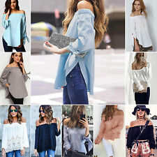 Sexy WomensWhite  Off Shoulder Long Sleeve Blouse Shirts Peasant Top