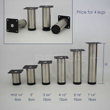 4x stainless steel table leg round cabinet feet adjustable height funiture stand