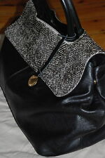 Laura di Maggio black leather/faux fur handbag