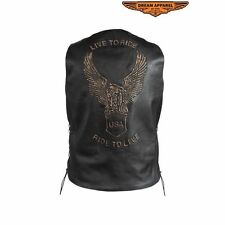 "Men's RETRO ""LIVE TO RIDE"" Lined Motorcycle LEATHER VEST W/ Embossed Eagle"