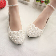 White Lace Wedding Shoes Pearls Ankle Trap Bridal Flats Low High Heels Size 3-11