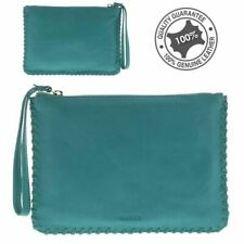 Lady's Women Genuine Real Rugged Hide Leather Clutch Wallet Purse Shoulder Bag