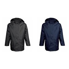 2786 Mens Plain Parka Zip up Hooded Jacket (Water & Wind Resistant) Sizes S-3XL