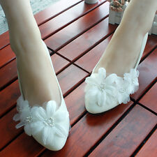 White Lace Flowers Wedding Shoes Flat Heels Bridal Shoes Flats Size 3-11
