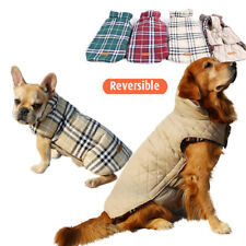 Pet Large Dog Reversible Plaid Soft Jacket Coat Winter Warm Clothes XS-XXXL