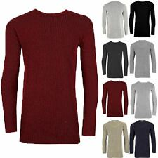 Mens Full Sleeve Longline Round Neck Contrast Ribbed Knitted Pullover Jumper Top