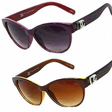 Women's Bifocal Reading Sunglasses Cat Eye Sun Readers Faux Wooded Arms