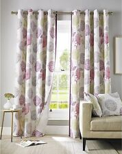 FLORAL FLOWERS LEAVES PINK CREAM LINED RING TOP CURTAINS *9 SIZES*