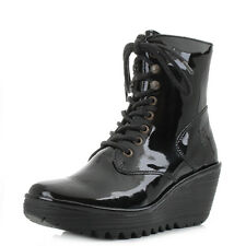Womens Fly London Ygot Nevada Black Patent Leather Wedge Ankle Boots UK Size