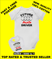 Baby Romper Suit PLUS a Baby Bib printed with FUTURE AUDI DRIVER