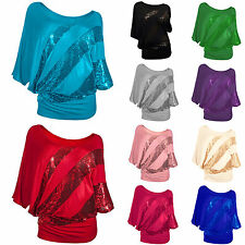 Plus Size Womens Sequins Round Neck Batwing Sleeve Blouse Shirt Tunic Top S-2XL