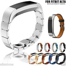 Stainless Steel Leather Silicone Band strap For Fitbit Alta Tracker Smart Watch