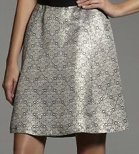 Narciso Rodriguez for DesigNation Jacquard Gold Metallic A Line Skirt