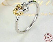 Love interlocked Heart Ring Genuine 925 Sterling Silver 14k Heart