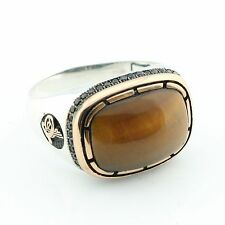 Unique Handcrafted .925 Sterling Silver Tiger EYE Stone  Men's Ring -US - K7M