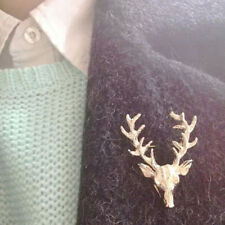 Unisex Animal Collar Brooch Pin Clip Cute Deer Antlers Head Pins Brooches   ST