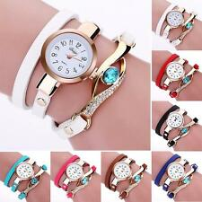 Women Crystal Gemstone Leather Gold Pretty Bracelet Analog Quartz Wrist Watch