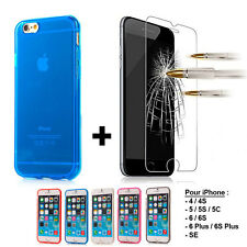 CASE COVER SILICONE TPU GEL IPHONE A CHOICE + FILM GLASS TEMPERED GLASS