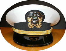 US NAVY LINE OFFICER WHITE CURRENT UNIFORM VISOR HAT CAP NEW ALL SIZES - CP MADE