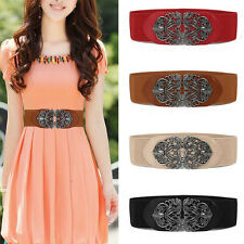 Hot Women Vintage Metal Flower Elastic Stretch Buckle Wide Waist Belt Waistband