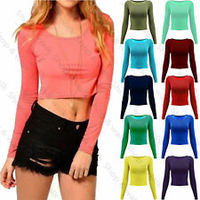 Womens Ladies Plain Long Sleeve Basic Crop Top Round Neck Mini Top T Shirt 8-14