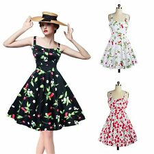 Women Vintage Style Floral Printed 50'S 60'S Rock Check Swing Halter Dress