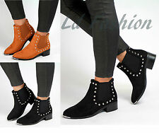 New Womens Suede Look Ankle Boots Flat Low Heel Chelsea Ladies Studded Sizes 3-8