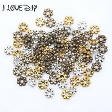 1000pcs Tibetan Gold Silver Flower Spacer Beads Round Metal Daisy Wheel`Spacers
