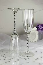 Swarovski Crystal Personalized Wedding Champagne Wine Toasting Glasses Flutes