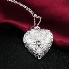 Fashion Vogue silver plated Necklace Pendant Love Heart Locket Chain jewelry