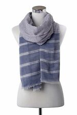 S21 Woman 100% Cotton fine and bold stripe print frayed scarf