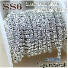 10yards/roll clear crystal SS6-SS12(2mm-3mm) silver base Apparel Sewing style di