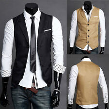 New Men's Casual Stylish Slim Fit Buttons Solid Sleeveless Vest Skinny Waistcoat