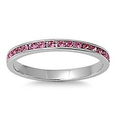 3mm Stainless Steel Pink CZ Eternity Comfort Fit Band Ring Size 3-9
