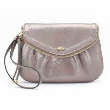 Juicy Couture Traveler Purse Wristlet-Clutch Irridescent Pewter-Purple-Rose-Gold