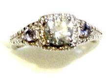 Blue Aquamarine Round Solitaire & Iolite Rnd Ring, Silver, Sizes 8 & 9, 0.85(TCW