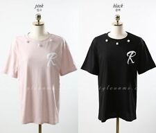 StyleOnMe_Letter R Pearl Detail Short Sleeve Tee_2 Colors_FreeSize_Made in Korea