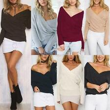 Fashion Women Long Sleeve V Neck Sweater T-Shirt Pullover Jumper Blouse Tops HOT